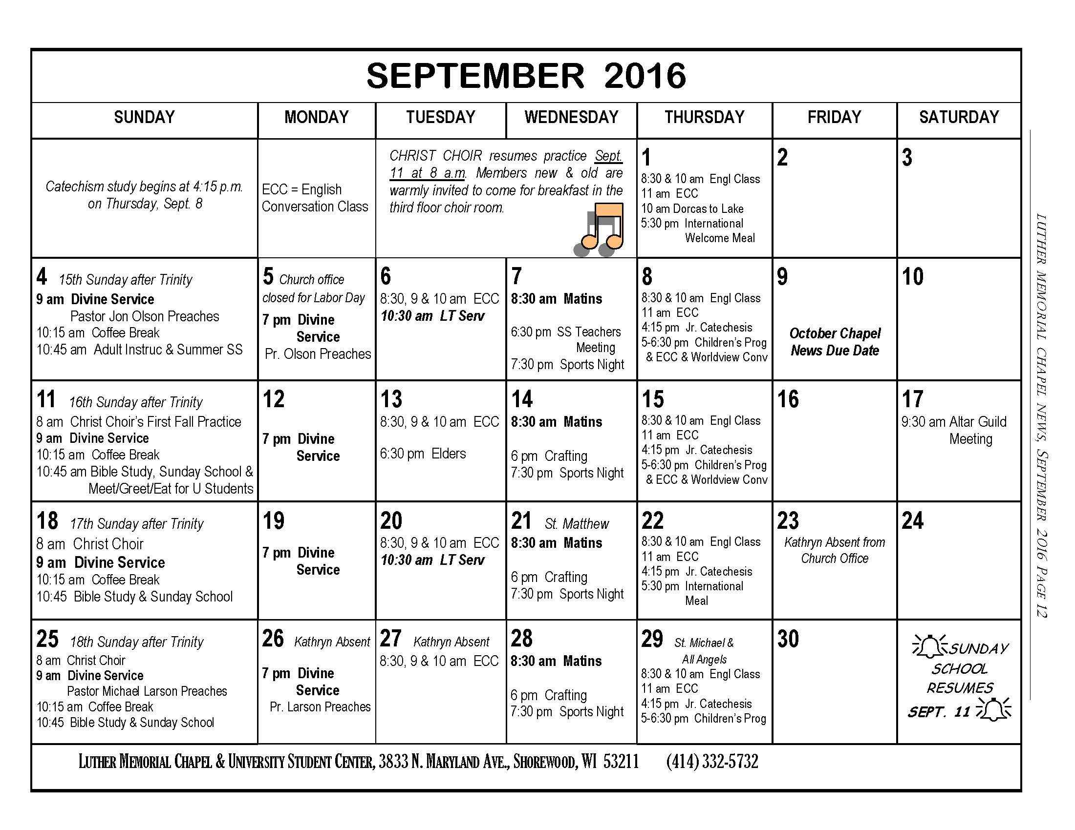 Ecc Calendar.Chapel News Calendar Luther Memorial Chapel And University